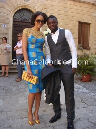 Sulley Muntari & Gf Menaye Donkor At Wesley Schneider's wedding