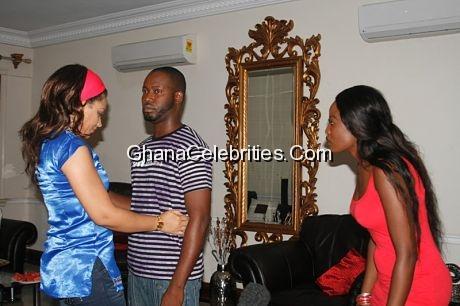 Adjetey Anang, Nadia and Nana Akua Addo in a scene 3