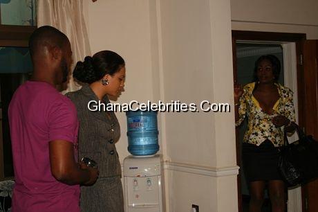 Adjetey Anang, Nadia and Nana Akua Addo in a scene