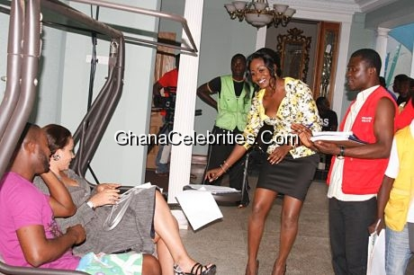 Adjetey Anang, Nadia and Nana Akua Addo reading through their lines