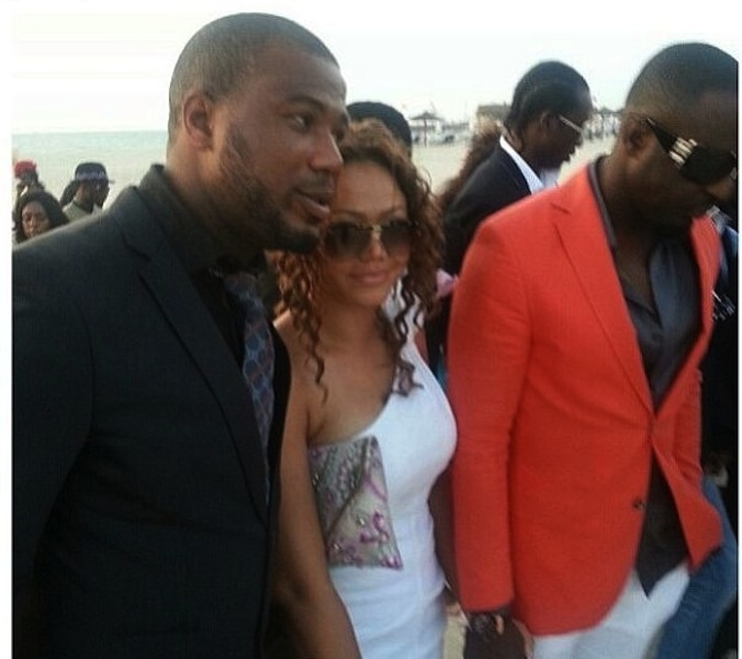 Nadia Buari Holding Hands With Jim At 2Face's Wedding In Dubai
