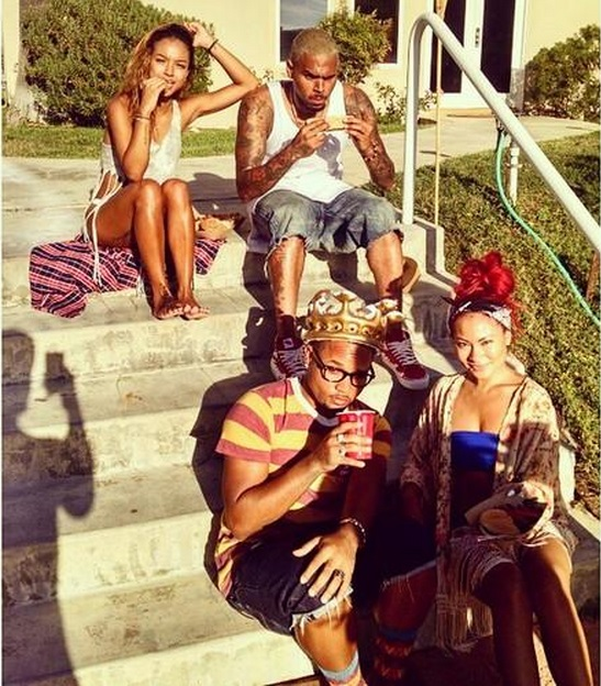 Chris Brown and Karrueche at Chris Brown's Labour Day Pool Party