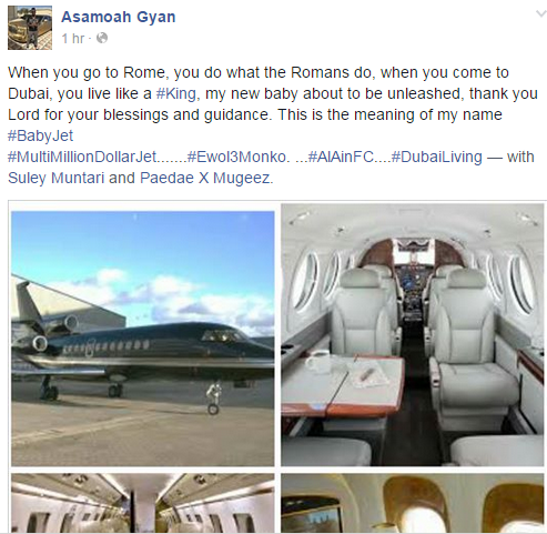 Asamoah gyan private jet 2