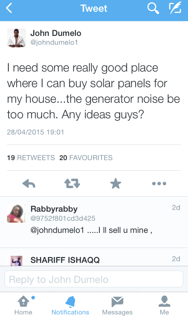 John Dumelo's tweet