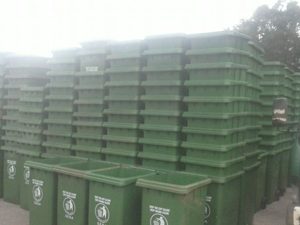Waste bins delivered by the Ministry of Local Government and Rural Development