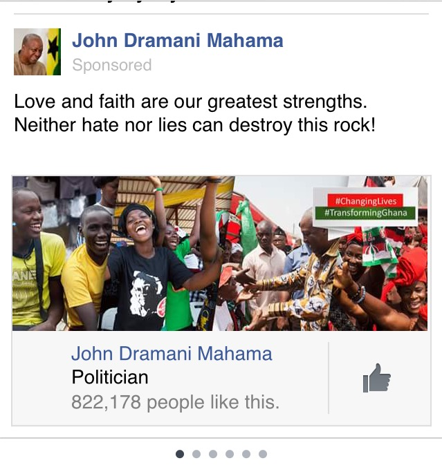 NDC and John Mahama Ad on Facebook