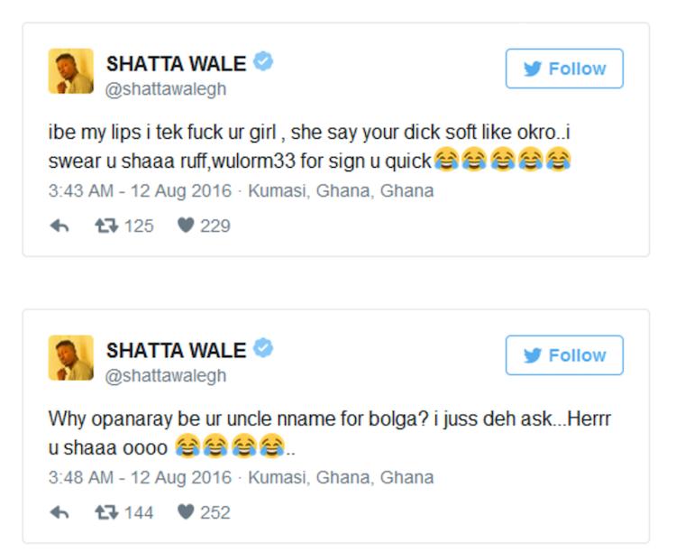 Shatta Wale's tweets