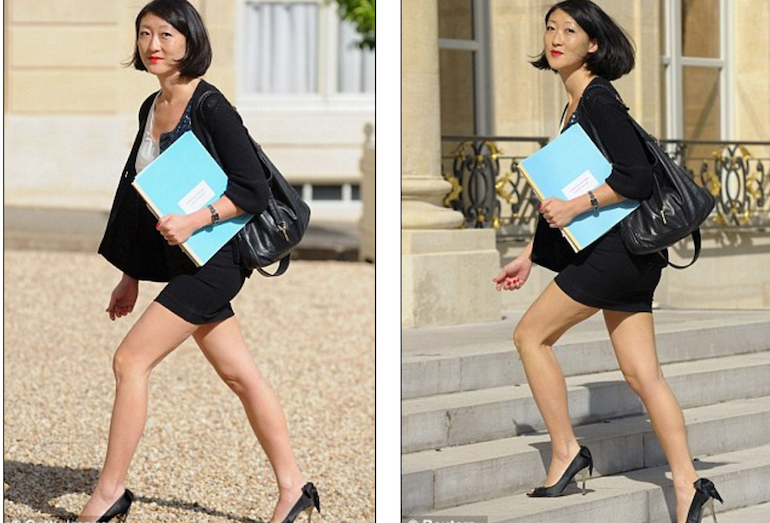 Then French Small and Medium Enterprises minister Fleur Pellerin wearing a mini-skirt in 2012