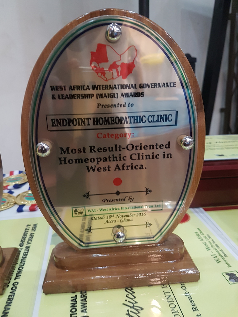 End Point Homeopathic Clinic djudged the Most Result-Oriented Homeopathic Clinic in West Africa by the WA