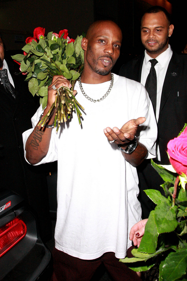 DMX aka Earl Simmons rapper holding a bouquet of roses while leaving The Colony after attending a Maxim magazine party Los Angeles, California - 24.10.11 When: 24 Oct 2011 Credit: WENN
